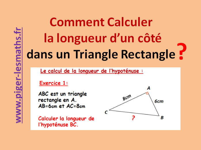 calculer une longueur dans un triangle rectangle th or me de pythagore. Black Bedroom Furniture Sets. Home Design Ideas