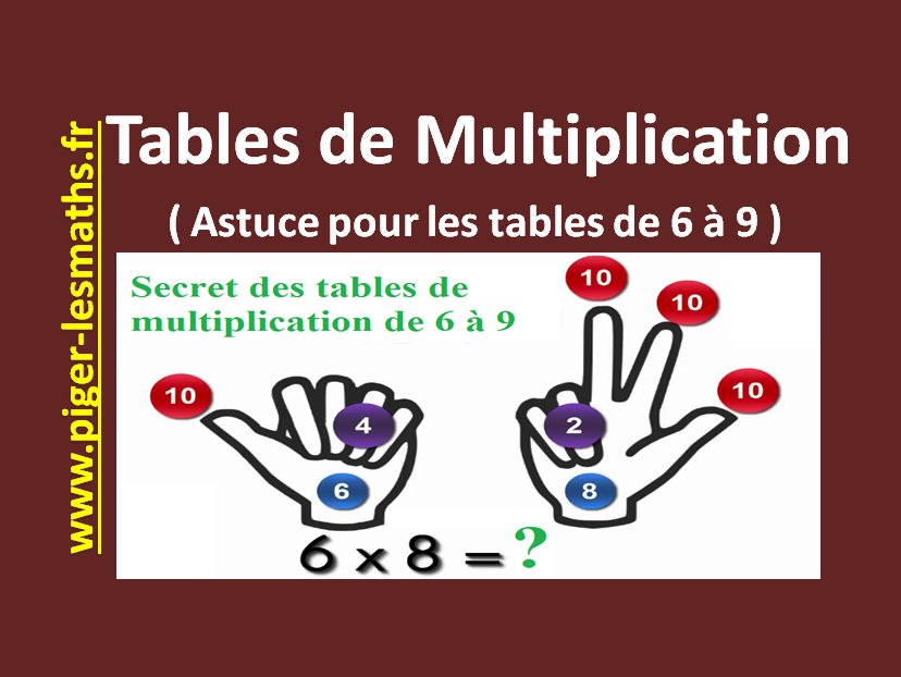 table de multiplication astuce pour les tables de 6 9 piger lesmaths. Black Bedroom Furniture Sets. Home Design Ideas